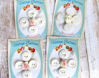 White Vintage Plastic Buttons Set on Handmade Card Gift Tag Sewing Notion Jewelry Finding Needlecraft Supplies Set of Four - 3/4""