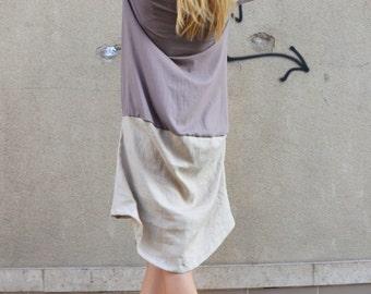 Oversize Little Dress, Linen Cotton Tunic, Asymmetric Dress, Casual Dress, Maxi Extravagant Dress by SSDfashion