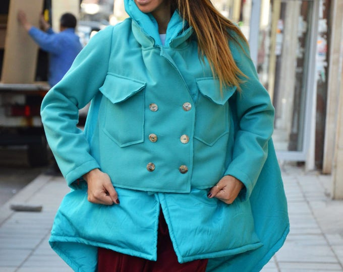 Women's Тurquoise Winter Coat, Extravagant Coat Extra Long Sleeves, Cashmere Wool Coat With Pockets by SSDfashion