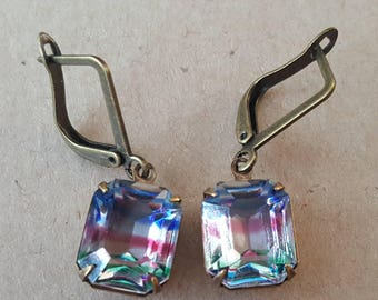 Vintage 1930s Iris Rainbow Drop Dangle Earrings. Art Deco German Glass Earrings
