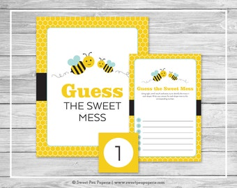 Bumble Bee Baby Shower Guess The Mess Game - Printable Baby Shower Guess Sweet Mess Game - Bumble Bee Baby Shower - Diaper Game - SP138