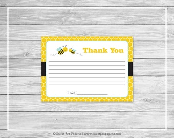 Bumble Bee Baby Shower Thank You Cards - Printable Baby Shower Thank You Cards - Bumble Bee Baby Shower - Shower Thank You Cards - SP138