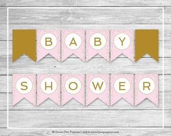 Pink and Gold Baby Shower Banner - Printable Baby Shower Banner - Pink and Gold Confetti Baby Shower - Baby Shower Banner - EDITABLE - SP145
