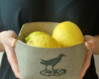 Gray Ceramic Serving Bowl, Rustic Ceramic Bowl, Bird Decorated Bowl, Folded Bowl, Salad Bowl, Hostess Gift, Housewarming Gift