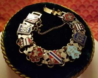 Vintage 50's 60's Mid Century Modern Enameled Metal Crest and Shield Charm Bracelet Medieval Costume Jewelry