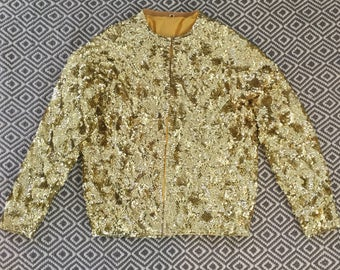 New Wave 80's Gold Sequined Cardigan