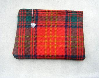 Pure wool red/green tartan,zip top pouch /bag tidy/purse