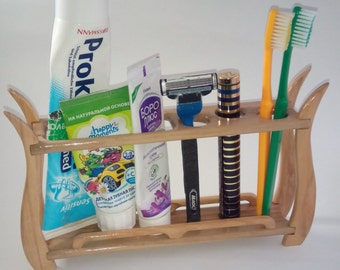 Holder of toothbrushes. An organizer for a bathroom. Makeup Brush Holder. Bathroom Decor. Wooden Decor. beauty station.