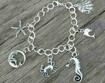 Nautical Sea Shell Charm Bracelet Mermaid Starfish Silver Beach Charms ~ Sale Expires Today