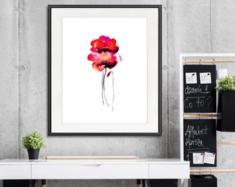 Office decor red poppy wall art red print, modern decor, poppies art, floral interior - 24