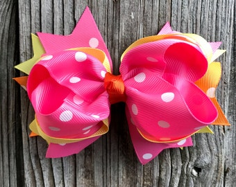 Big hair bow clip 5 inches for Baby Toddler Girl, multiple layers , Christmas , Birthday gift for girls