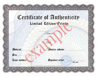 Gift certificate template etsy for Limited edition print certificate of authenticity template