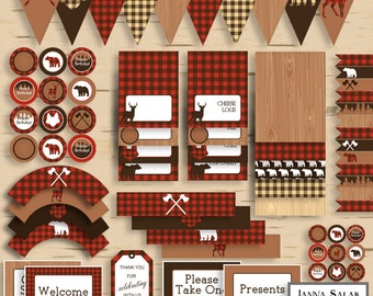 Lumberjack Birthday PRINTABLE Party Package Decorations Red and Brown Buffalo Plaid Diy INSTANT DOWNLOAD Pdf LJ01