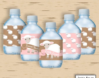 Little Lamb Baby Shower Printable Water Bottle Wrappers Labels INSTANT DOWNLOAD DIY LL01