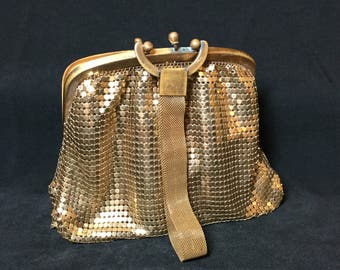Mesh Whiting And Davis Company Bags Goldtone Clutch Purse, Mesh handbag, Gold Mesh Clutch, Vintage Handbag, Vintage Clutch Bag, 1940s