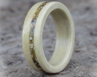 Wood Ring From Holly With Sand Inlay