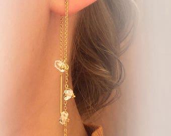 Gold Thread Earrings, Ear Threads, Herkimer Diamonds Threads, Needle Earrings, Gold Thread Jewelry Bridal Accessory, Diamond Earrings, Gifts