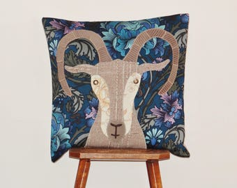 Mountain goat cushion cover - appliqued using a variety of recycled and re-purposed fabrics