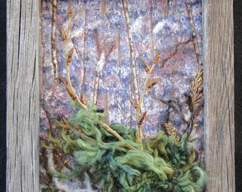 "Framed Landscape Quilt, Landscape Tree Scene, Fiber Art Quilt, Original Design, Home Decor, Old Barnwood Frame, 8""x10"""