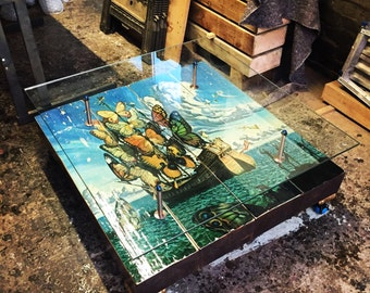 Butterfly Ship Coffee Table with Glass top