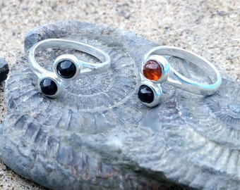 Sterling silver rings in a choice of combinations -  Whitby jet on its own or with amethyst, amber or moonstone
