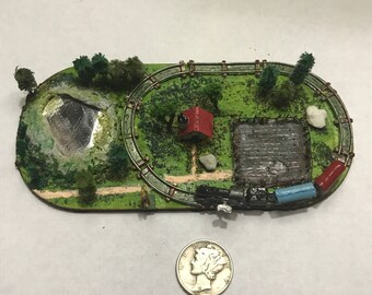miniature dollhouse toy train board