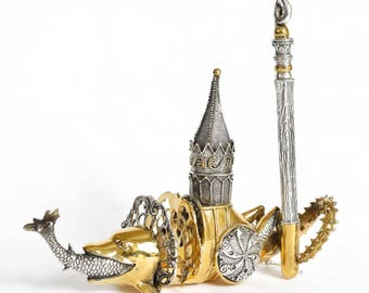 """Silver Pen and visit cards holder """"Dolphin-Grasshopper"""" in Hieronymus Bosch style"""