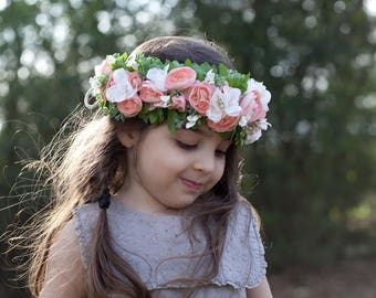Tieback Flower Crown Headband, Adult Flower Crown, Flower Girl Flower Crown, Bridal Floral Crown, Halo Wreath, Wedding Flower Crown, Toddler