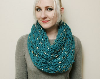 Teal and Gold Leaf Chunky Open Knit Infinity Scarf