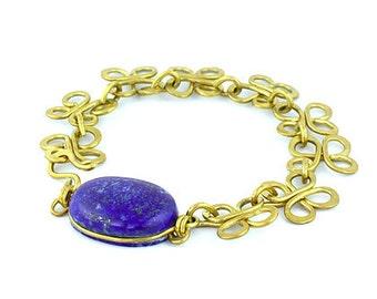 Lapis Lazuli Wire Wrapped Link Bracelet
