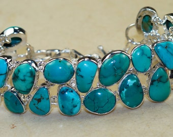 Outstanding Genuine Santa Rosa Turquoise set in Solid 925 Sterling Silver Bracelet by Silver Trend, Boho Jewelry, Bohemian Style Jewelry