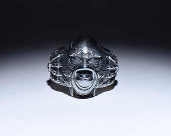 Creature from the Black Lagoon Horror Ring, sterling silver ... creature ring, horror jewelry