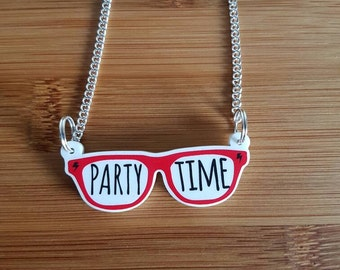 Party Time Glasses Necklace. Acrylic pendant