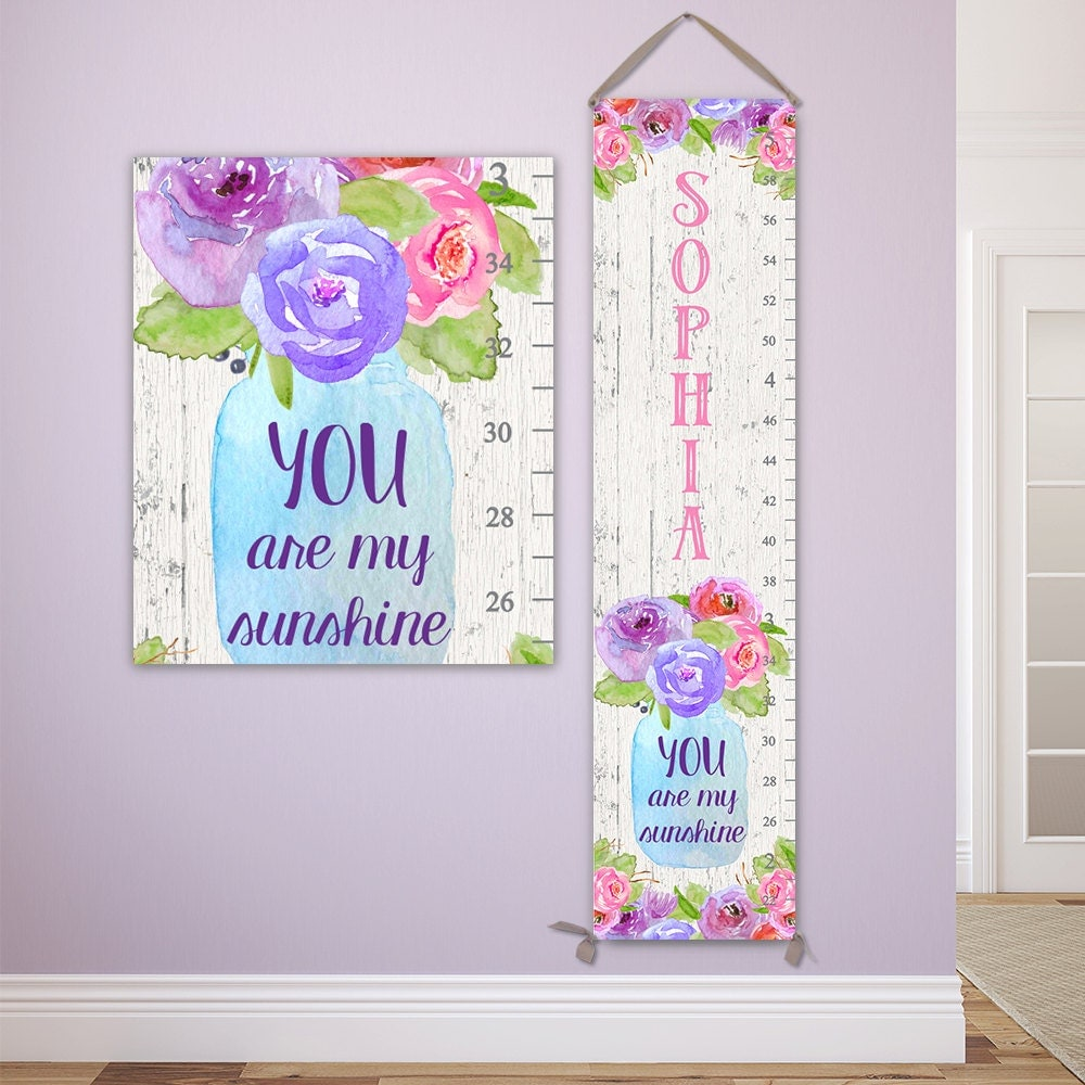 You are my sunshine art personalized canvas growth chart canvas jolieprints nvjuhfo Gallery