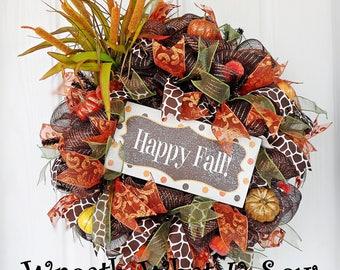 Fall Door Wreath, Fall Outdoor Wreath, Fall Wreath, Autumn Wreath, Pumpkin Wreath, Front Door Wreath, Deco Mesh Wreath, Wreath Front Door