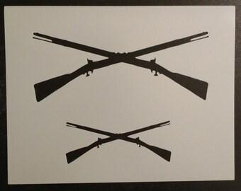 Crossed Rifles Rifle Guns Custom Stencil FAST FREE SHIPPING