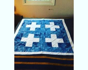 "Hand dyed indigo baby /lap quilt . 45x45"""