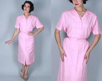Vintage 1950s Dress | Blossom Pink Shirtwaist Dress with Peaked Pocket Details | Large