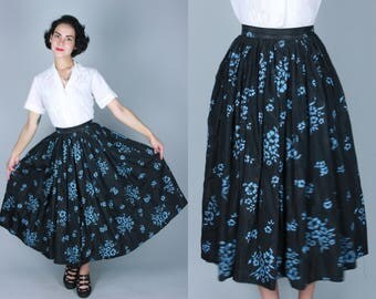 Vintage 1950s Skirt | Black Taffeta Skirt with Light Blue Flowers and Flocked Details | Extra Small