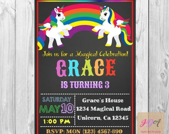 Unicorn Invitation, Rainbow Invitation, Magical Birthday Invitation, Unicorn Birthday Invitation, Rainbow Birthday Invitation digital file