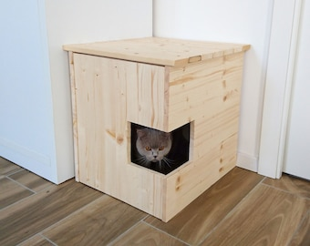 Corner Litter Box Cover, Pet House, Cat Litter Box Cabinet, Pet Furniture made of recycled spruce wood