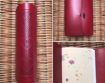Leather Cherry Red journal. Artists Sketchbook. Travellers notebook