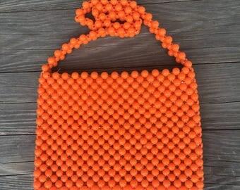 Vintage Orange Beaded Purse