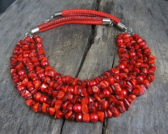 Red Coral Necklace, Multi strand Red Necklace, Red Statement Necklace, Big Red Necklace, Gemstones necklace, Coral necklace, Gift for women