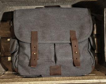 Leather & canvas satchel