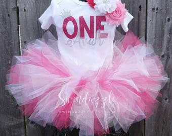 Princess Birthday tutu Outfit - first birthday tutu - princess tutu outfit - crown Birthday outfit- princess theme - pink and silver theme