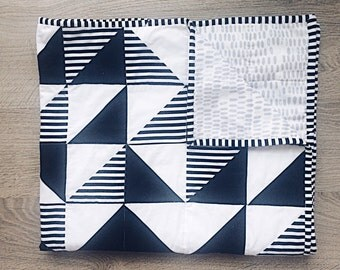 Modern Quilt - Black and White Triangle Quilt  - Minimalist Quilt - Made to Order - Gender Neutral