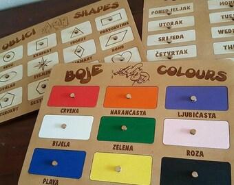 Croatian puzzles:  Colours - boje, Shapes - oblici, Days of the week - Dani u tjednu