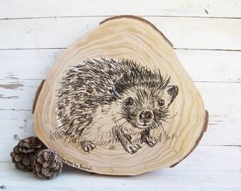 Woodland animals, Hedgehog print, Nursery art, Farmhouse decor, Country home decor, Gift for kids, Wood slice art, Farmhouse decor, Easter