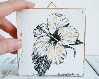 Miniature painting - Hibiscus print, print on wood, Nature art, Wood signs, Flower wall decor, Hostess gift